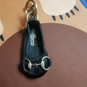 Gucci sateen and leather shoe keychain